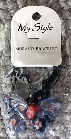 MY STYLE MURANO GLASS BUTTERFLY BEAD BRACELET NEW IN PKG 2 #MyStyleMurano #Statement
