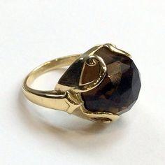Gold-tone ring, gemstone ring, smoky quartz ring, stone ring, gemstone ring, brass ring, statement cocktail ring - Queen of Hearts R2316-2