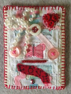 Textile ACEO Mixed media art card pink and red by Lucismiles, $9.00