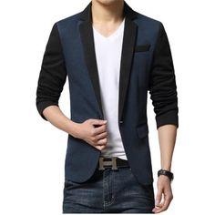 2017 Mens Blazer Jacket Patchwork Long Sleeve Blazer Men Single Button Blazer Homme Casual Slim Fit Blazer Masculino #Affiliate