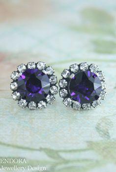Purple velvet crystal earrings | deep purple jewelry | royal purple wedding | #EndoraJewellery