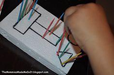 Toothpicks in Styrofoam for fine motor development.
