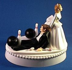 Wedding Cake Topper Bowling Bowler Groom Themed w/ Garter, Display Box on Etsy, $59.99