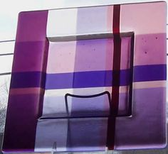 Marlow Glass Arts :: Platters :: Purple Mauve Plaid