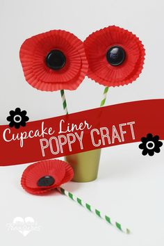 Easy poppy flower craft made from cupcake liners. Few materials needed! @Pint-sized Treasures| Easy recipes + Parenting + Preschool Activities+ Marriage Help