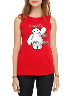"""Sleeveless red top from Disney's Big Hero 6 with """"Hello, I Am Baymax"""" design on front."""