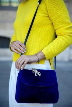 Bag: furry tumblr blue royal blue sweater yellow sweater yellow top animal crocodile