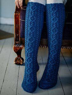 Ravelry: Long socks with cables pattern by Minna Metsänen