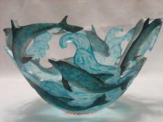 """Dolphins"" Art Glass Bowl Created by Ann Alderson Cabezas"