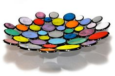 Dot Dot Dot Black - Large Circular Fused Glass Bowl Art