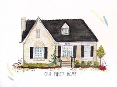 Custom House Portrait Illustration Original by LeighEllexsonArt House Illustration, Portrait Illustration, Book Illustrations, House Sketch, House Drawing, Tiny House Exterior, House Exteriors, Stone Cottages, Watercolor Paintings