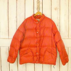 Vintage down jacket/orange hiking jacket/down by GreenCanyonRoad, $125.00
