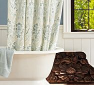 A clawfoot tub and a pretty shower curtain would look great in a post and beam bathroom. Product by Pottery Barn.
