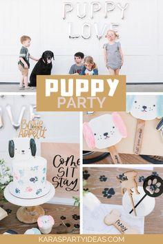 Kara's Party Ideas Puppy Party   Kara's Party Ideas Puppy Birthday Cakes, Puppy Birthday Parties, Puppy Party, Dog Birthday, 1st Birthday Girls, Birthday Party Themes, 12th Birthday, Happy Birthday, Dog Themed Parties