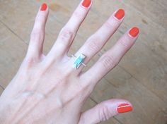 triangular turquoise ring // sterling silver by WeAreArrow on Etsy, $38.00