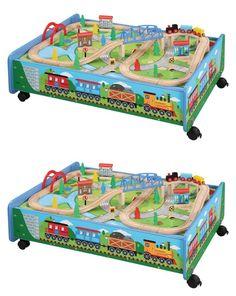 Brio Compatible 16517 62 Piece Wooden Brio And Thomas And Friends Compatible Train Set Table  sc 1 st  Pinterest & Brio Compatible 16517: 62 Piece Wooden Train Set With Train Table ...