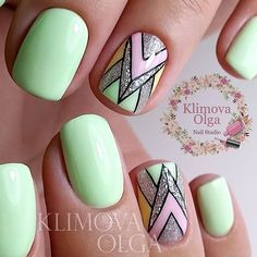 Silver and Mint Geometric Nail Art Design. Minty shade is not that popular whe it comes to nail arts. But when you are doing geometric nails, the mint color can be groundbreaking.