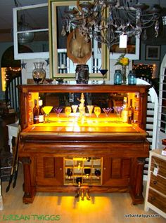 Antique piano upcycled into illuminated bar. by UrbanTwiggs, $2500.00
