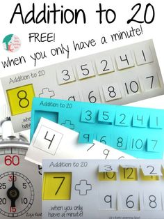 Lower stress levels by spending only a minute or two working on addition to Kindergarten Freebies, Classroom Freebies, Math Classroom, Classroom Ideas, Math Addition, Addition And Subtraction, Addition Games, Math For Kids, Fun Math