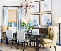 Classic Color Scheme  Sky Blue + White + Pumpkin  Blue and white is a timeless color combination that suits a dining room especially well. Add in some warm pumpkin such as this paisley chair fabric, and you've got a classic palette to welcome your dinner guests.