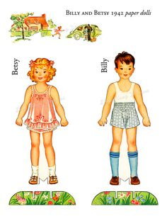 Paper Dolls Billy and Betsy 1942 Digital by skipalongdesigns