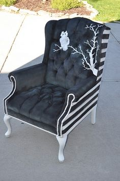 DIY Chair.  Looks like something out of Beetlejuice or the Addams Family - I NEED THIS IN MY LIFE!!!