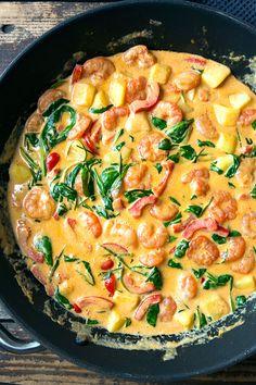 Garnelen-Curry mit Kokosmilch und Spinat - Madame Cuisine