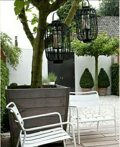 Binnenplaats - tuin - city - stadstuin - garden - patio - White & Grey LOVE the tree in the pot Outdoor Life, Outdoor Rooms, Outdoor Decor, Outdoor Living, Small Gardens, Outdoor Gardens, Garden Living, Garden Spaces, Dream Garden