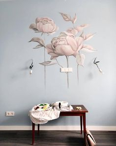 41 Lovely Rose Wall Painting Design Ideas For Home Décor To Try - Roses are famous flowers. During historical past, they've had particular significance and stirred emotions in a assortment of settings. Roses have bee. Paper Wall Art, Hanging Wall Art, Wall Art Decor, Design Exterior, Wall Drawing, Floral Wall Art, Paint Designs, Flower Wall, Decoration