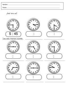 Fichas infantiles de trabajar las horas gratis. Descargar fichas y láminas de aprender las horas para imprimir de infantil, preescolar y primaria