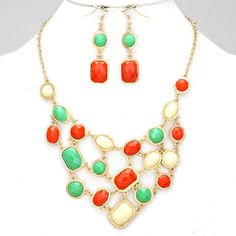 Gold Turquoise Coral and Cream Acrylic Necklace Set