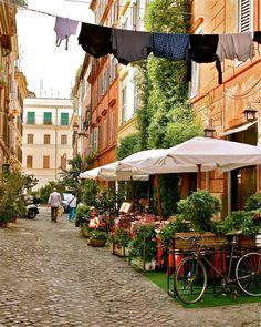 Trastevere Rome - Italy Photo - Orange Green Wall Decor - Photograph Print - Roman Trattoria - Italian - Laundry Bicycle. $75.00, via Etsy.