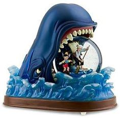 Figaro,Geppetto,Monstro the whale, Pinocchio Snowglobe