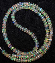 "Super Metallic Fire Transparent Ethiopian Welo Opal Faceted Strand 4-4.5 MM 16 """