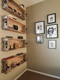 Here in the below project we can see a series of consecutive wall shelves which are similar in size shape and design as well. So this unified series of wall shelves is meant to be carrying our several accessories that we can not put into drawers or conventional cabinets. This room is so decently painted so the shelves should not affect the decency and sophistication of the room. There are also a number of paintings on the very next wall. So in this idea the pallet shelves are left unstained…