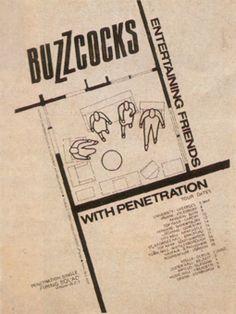 Buzzcocks 'Entertaing Friends' Tour Poster. By Malcolm Garrett.