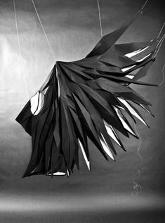 The Muybridge installation is a study set out to capture temporal change in 3D. A three-step sequence of a bird spreading its wings is reconstructed and sculpted into T-Shirts. As the change in the wings' position is a function of time, each wing's plumage is reduced to polygonal form, modeled and rigged into successive arrangements to portray the spreading motion. (MASHALLAH)