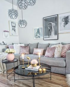 Cool grey interior with a pop of pink and gold to warm it up..stunning....Fabuluxity