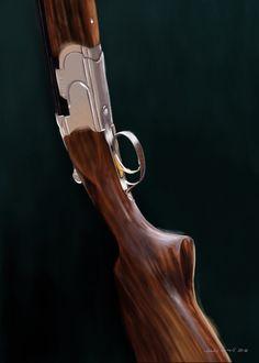 Beretta shotgun. Painted by Jonas Linell 2016. #guns #shotgun #beretta #weapon #hunting #hunt #art #illustration #painting #digital