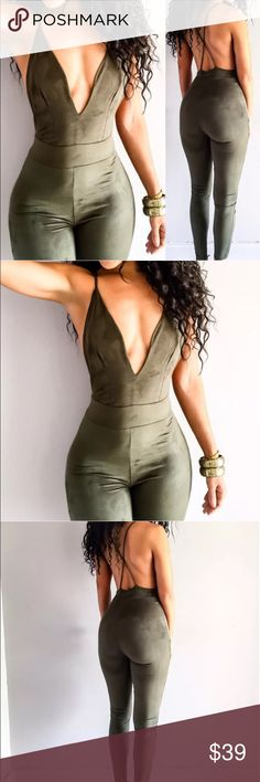 Suede bodysuit💎 Stylish fall winter  trendy celebrity 2016 suede bodycon pantsuit romper bodysuit🍁 Host pick, top rated, suggested seller🍁 Material: cotton spandex suede🍁 Please refer to size chart for sizing; tag size is large but will fit a Med or curvy small best 🍁 Same day shipping🍁 Offers considered but low balls will be declined🍁 Every body type is different don't compare your fit exactly to the model🍁 Will bundle for special discounts🍁 Pants Jumpsuits & Rompers