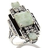 """Jade of Yesteryear Jade and CZ Sterling Silver """"Art Deco"""" Ring"""