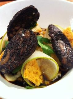Guinness and Cheddar Risotto With Pears and Blood Sausage Recipe