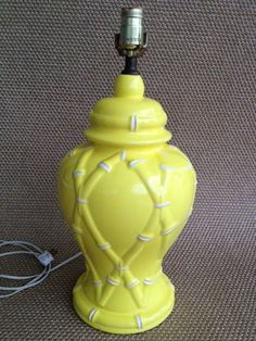 hollywood regency yellow and white faux by amysvintagedecorium, $85.00