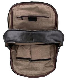 9092ae5295 Interior pocket detail image - Serbags black leather backpack 17 Inch  Laptop, College Bags,