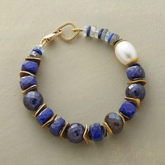 Bienvenue Bracelet with cultured pearl, lapis, labradorite, aquamarine and sapphire gems