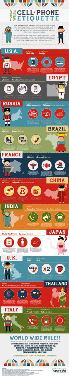 How Cell Phone Etiquette Is Different Around The World #infographic