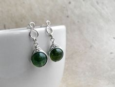 Moss Agate Free-formed Stud Earrings Sterling by JustynaSart