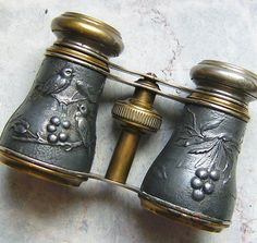 Antique Vintage Chevalier Paris Opera Glasses with Birds and Berries. Very Victorian Steampunk!