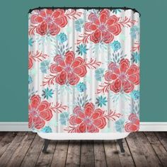 Coral And Turquoise Shower Curtain