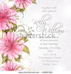 Wedding invitation or card with abstract floral background. by Lyubov Lomonos, via ShutterStock
